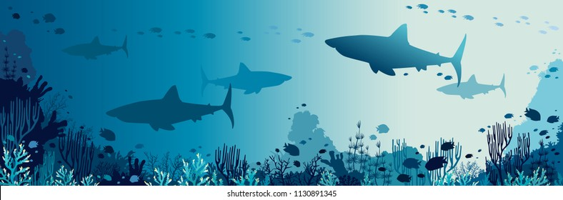 Silhouette of big sharks, coral reef and tropical fishes in a blue sea background. Vector panoramic illustration. Underwater nature and marine wildlife.