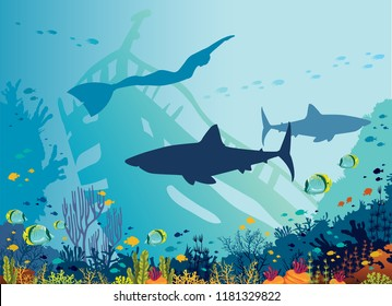Silhouette of big sharks, freediver, coral reef and tropical fishes in a blue sea background. Vector illustration. Underwater nature and marine wildlife. Water sport - free diving.