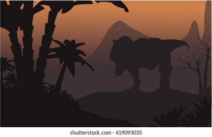 Silhouette of big T-Rex in hills at the night