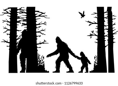 silhouette of the bigfoot family. animals in the forest. silhouettes of trees. birds silhouettes. family in the forest. wild world. big Foot