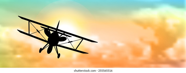 Silhouette Of Biplane With Colorful Cloudscape In Background Vector Illustration Eps 10 Transparency