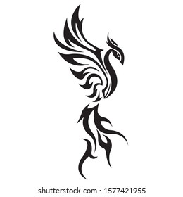 The silhouette of a bird is a Firebird, a tattoo painted black, drawn in various lines. Phoenix bird logo. Vector illustration for design