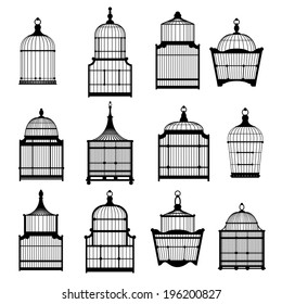 silhouette birdcages collection set. vector illustration eps10