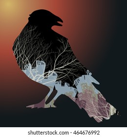 Silhouette of birds and tree branches cleavage, double exposure. All the elements are separated from each other. Use in design for decorating logos, signs, scrapbooking, wallpapers ...