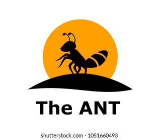 Silhouette of black ant small animal stand on land under sun logo design idea concept