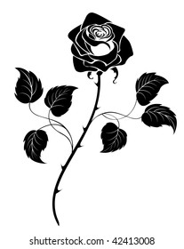 silhouette of the black artistically drawn rose on a white background.