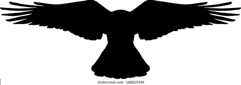 Silhouette of a black bird flying. Vector illustration.