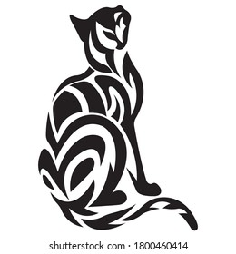 Silhouette of a black cat, drawn in the Celtic style. Design can be used for tattoo, logo, pet emblem, mascot, sticker, symbol, banner, t-shirt or clothing print. Isolated vector stock illustration