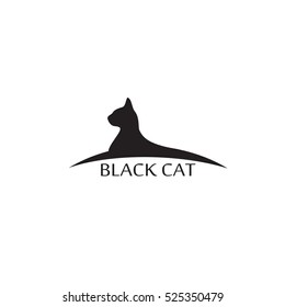 Silhouette black cat profile. Vector logo template animal.