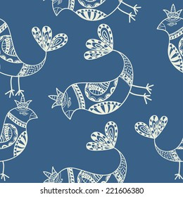 Silhouette of black ethnic birds. Seamless pattern. Vector illustration