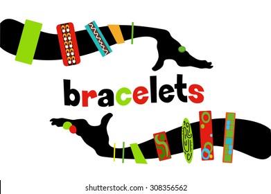 Silhouette black female hands colorful bracelets