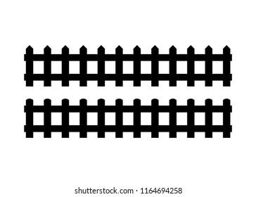 Silhouette Black Fence element. Vector illustration of fences