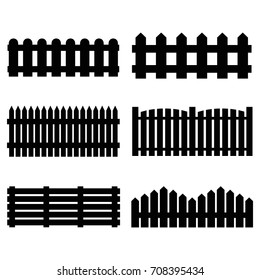 Silhouette Black Fence Icon Set Isolated on a White Background Barrier for Protection Garden, House and Farm Different Types. Vector illustration of Fences