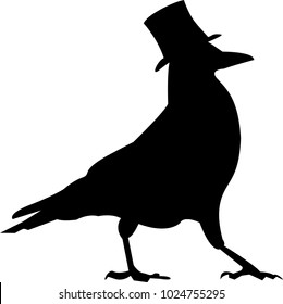 Silhouette of black intelligent crow with hat