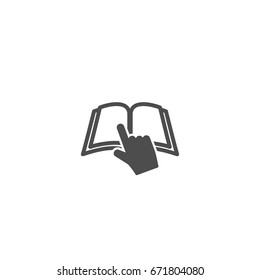 Silhouette with black outline of the book and pointing hand  isolated on white background. Knowledge flat icon. Vector illustration. Reading logo. Manual and tutorial, instruction symbol.