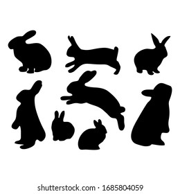 Silhouette of a black rabbit with a white background