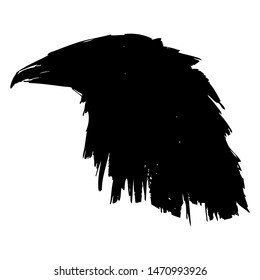 Silhouette of black raven crow profile head. Tattoo vector illustration.