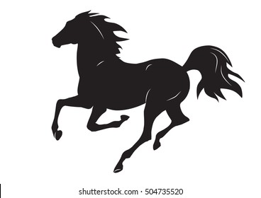 silhouette of black running horse - vector illustration