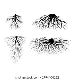 Silhouette Black Tree Roots Various Types Shapes Set Underground Element of Plant for Web and App. Vector illustration of Decorative Object