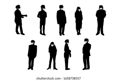 silhouette black and white group of people wearing a mask to protect from virus