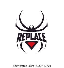 Silhouette Black Widow Spider Insect Arthropod Emblem Sport logo design