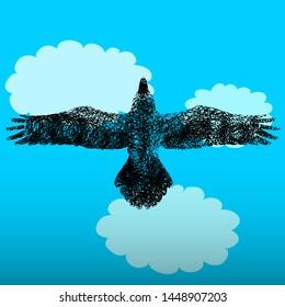 Silhouette of a blackbird flying across a blue cloudy sky. Vector illustration.