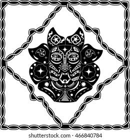 Silhouette black-white mask shaman Native American, Australian Aboriginal or African tribes in the frame boundary in the form of an ancient traditional pattern, ornament