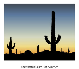 Silhouette of blooming cactuses on the background of desert. Blue sky.  Eps 10.