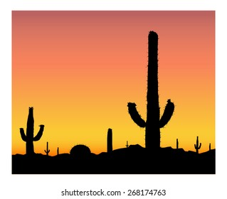 Silhouette of blooming cactuses on the background of desert. Heat. Eps10.