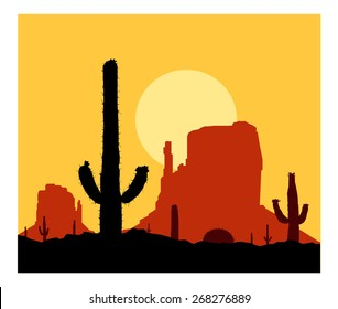 Silhouette of blooming cactuses on the background of red american mountains.