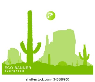 Silhouette of blooming cactuses and western rocks. Abstract green tones.