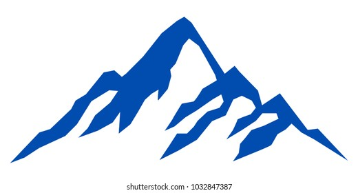 Silhouette blue mountain on white background – stock vector