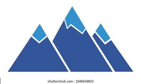 Silhouette blue mountain with three peaks on white background