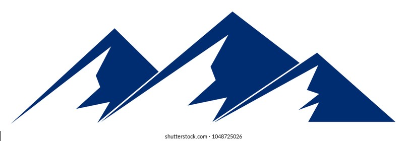 Silhouette blue mountain with three peaks on white background – vector