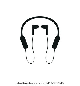 silhouette of bluetooth headphones with microphone on white background