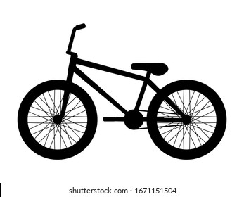Silhouette bmx bike. Vector illustration of black logo icon bmx bike isolated on a white background. Black silhouette icon bicycle side view, profile.