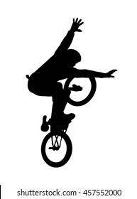 Silhouette of bmx cyclist isolated on white background. Vector
