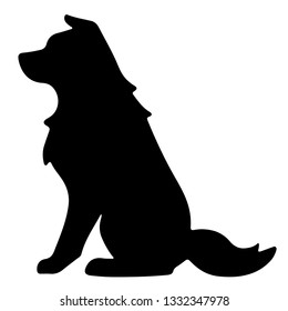 Silhouette of Border Collie Sitting