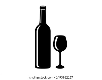 Silhouette bottle and glass of wine vector. Bottle of wine icon. Wine glass icon. Wine bottle and glass isolated on white background