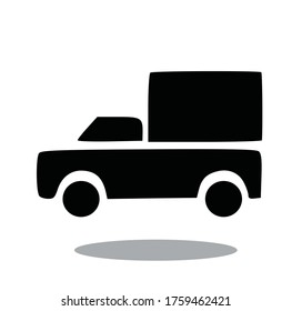 Silhouette Box Car Icon Vector Illustrator Isolated Background