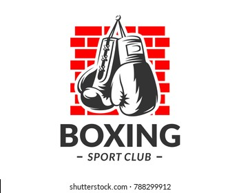 Silhouette of boxing gloves against a brick wall background - boxing emblem, logo design, illustration on a white background