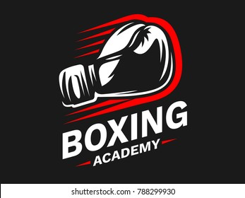 Silhouette of boxing gloves - boxing emblem, logo design, illustration on a black background