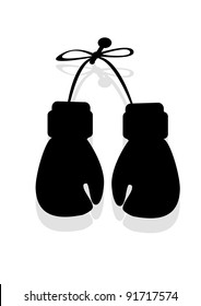 silhouette of boxing gloves in the vector
