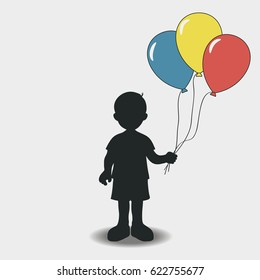 Silhouette of a boy with balloons. Vector illustration.