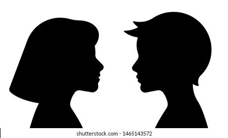 Silhouette of a boy and a girl. Vector illustration template isolated on white background.