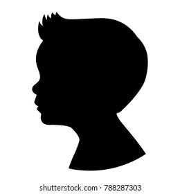 Silhouette boy kid head. Vector illustration of a young boy portrait shadow isolated on white background.