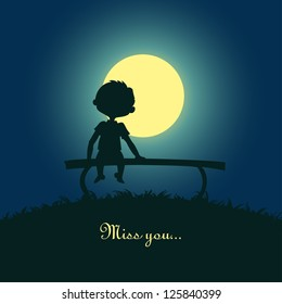 Silhouette of a boy sitting lonely in the moonlight. Design for card.