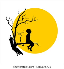 silhouette of a boy sitting on a tree branch against a full moon background. yellow and black. quiet. lonely. alone. sadness. vector 2020