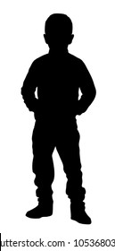 Silhouette of a boy standing