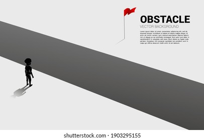 silhouette of boy standing at abyss looking to goal. Concept of education solution and decision of future.